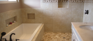 Built-in shower storage - Bathroom remodel by Envision Design